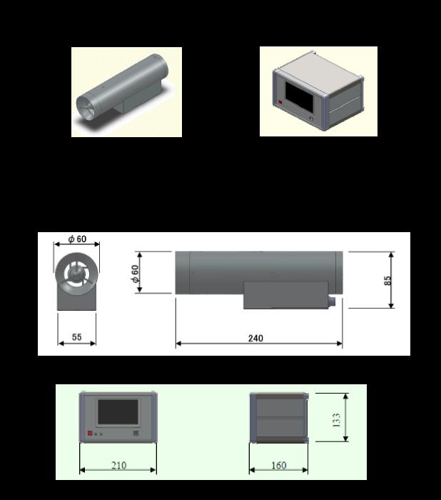 イオンカウンタイメージ図(外形図、サイズ)