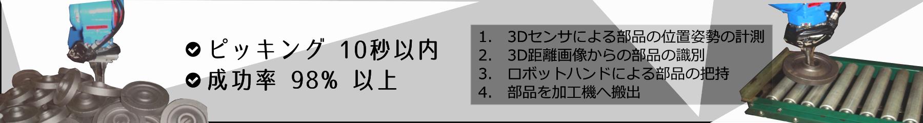 バラ積み部品のピッキングロボットシステム(ピッキング 10秒以内、成功率 98 % 以上)