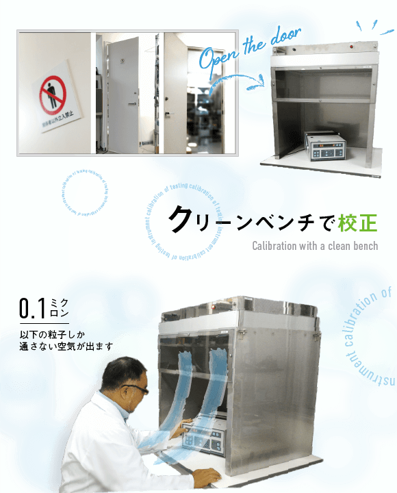 クリーンベンチでの校正 0.1ミクロン以下の粒子しか通さない空気が出ます(Calibration with a clean bench)