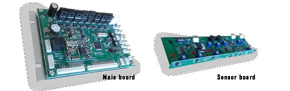 実際のAGV用ボード(メインボードとセンサボード)