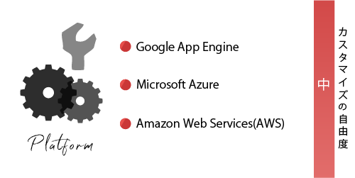 ②【PaaS】の具体例 ・Google App Engine ・Microsoft Azure ・Amazon Web Services(AWS) 【カスタマイズ自由度:中】