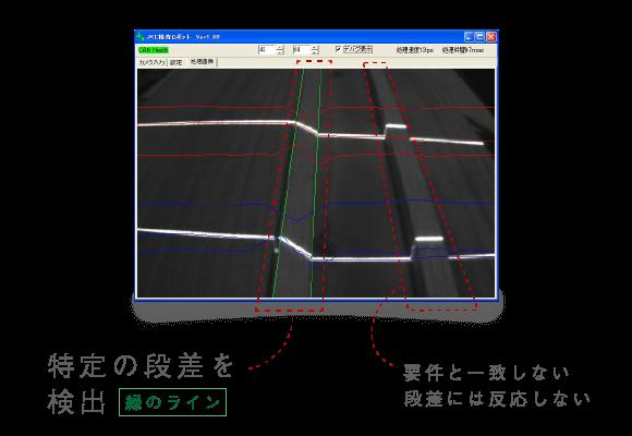 段差検出時の画像処理画面(特定の段差を検出、要件と一致しない段差には反応しない)