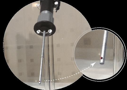 レーザ傷検査装置(シグマ株式会社様 ANALYZER)模型 展示中3 プローブ拡大画像