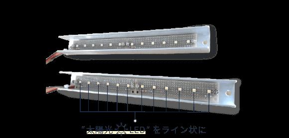 太陽光LEDをユニバーサル基板に12個ライン状に並べた照明