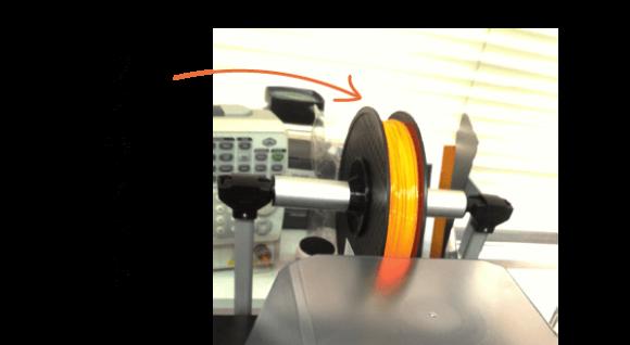 3Dプリンタ オレンジ色のフィラメント(PLA素材)