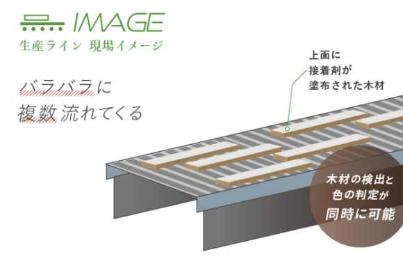 【塗布検査装置】生産ライン現場イメージ 木材が複数ランダムに流れてくる